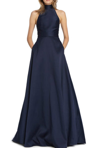 Navy mock neck ballgown ML Monique L'Hullier