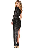 Fortune One Shoulder Gown in Black Sequin by Nookie - RENTAL