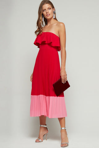 Pink and red pleated Aidan Mattox dress