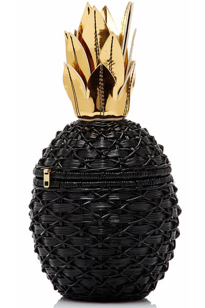 Pineapple Wicker Bag in Black by Serpui - RENTAL