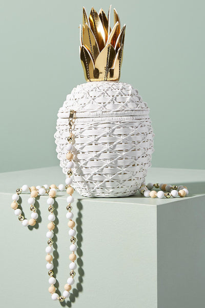 Pineapple Wicker Bag in White by Serpui - RENTAL
