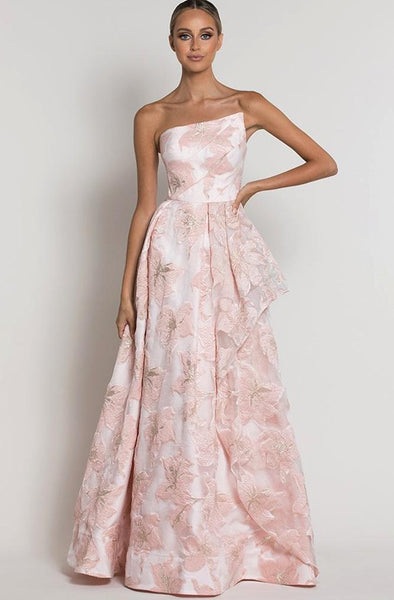 Pink floral ballgown by Bariano - Rental