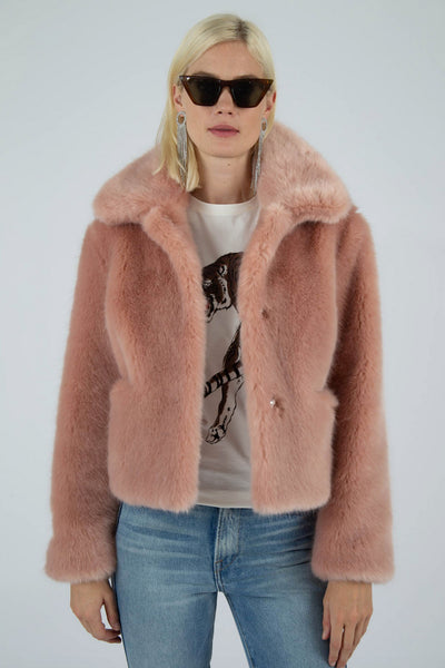 Tommy Faux Fur Pink Coat by JAKKE - RENTAL