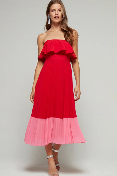 Red and pink strapless Aidan Mattox Dress