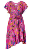 Dita Pink Floral Wrap Dress by Tanya Taylor - RENTAL