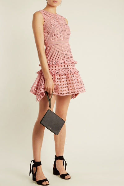 Crosshatch Mini Dress by Self Portrait - RENTAL