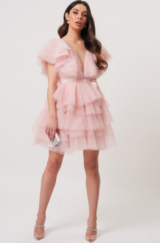 Pink Tulle Mini Dress by Forever Unique