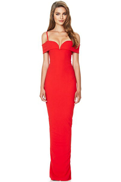 Pretty woman red gown by Nookie for rent in Canada