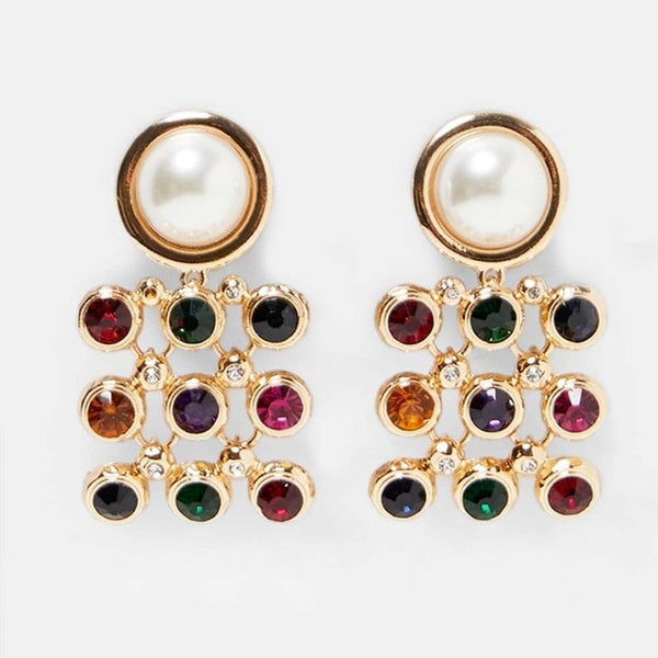 Gilded Goddess Multi Jewel Tone Drop Earrings