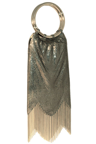 Rio Chain Fringe Bag in Antique Gold by Whiting and Davis - RENTAL