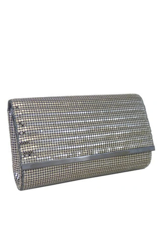 Quilted Rows Clutch in Silver by Whiting and Davis - RENTAL