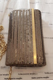 Quilted Rows Clutch in Gold by Whiting and Davis - RENTAL