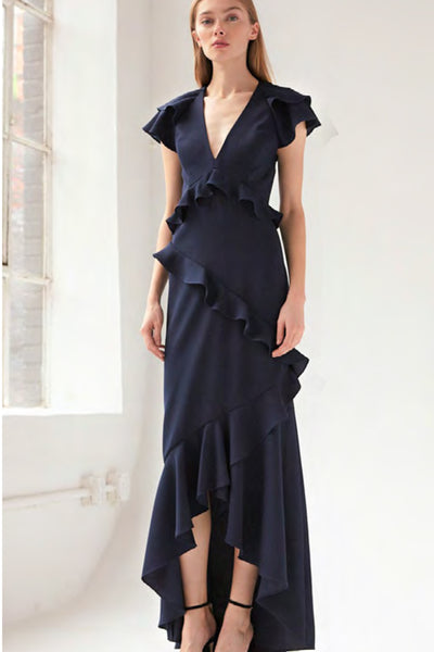 Navy Ruffle Dress ML Monique L'Hullier
