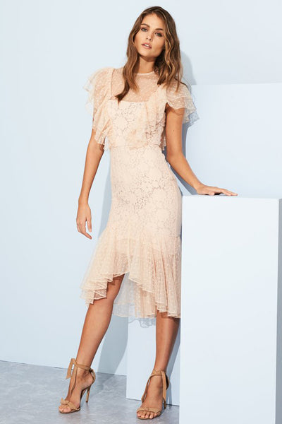 Rosalyn Ruffle Midi Dress by Cooper Street - RENTAL