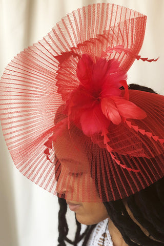 Raspberry Beret Red Fascinator - RENTAL