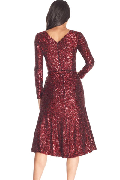 Daphne Red Sequin Midi Dress by Dress The Population - RENTAL