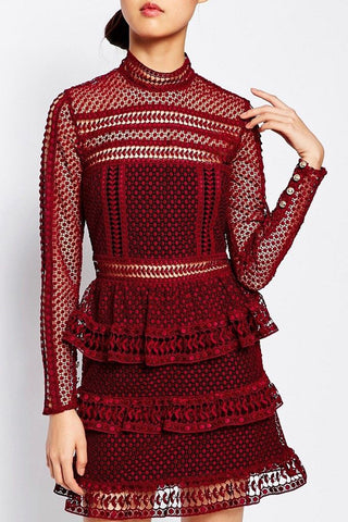 Red lace panelled ruffle self portrait dress Toronto