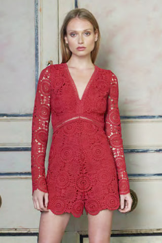 red lace romper Monique L'Hullier