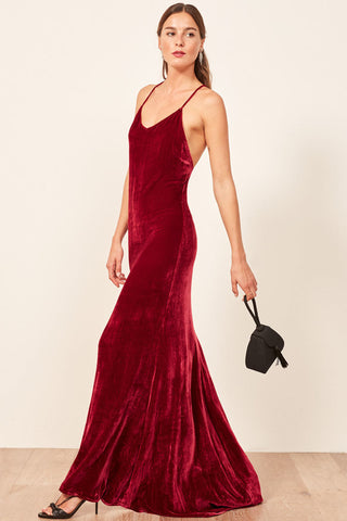 Rimini Velvet Gown in Crimson by Reformation - RENTAL