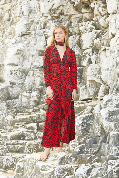 Rose Silk Dress in Red Tiger Print by Rixo London - RENTAL