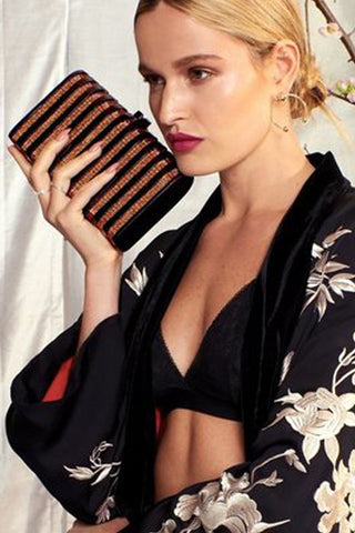 Rodeo Clutch in Black & Gold by Emm Kuo NY - RENTAL