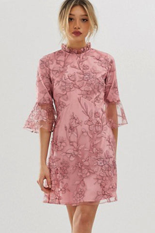 Pink Embroidered Mini Dress Rental Canada