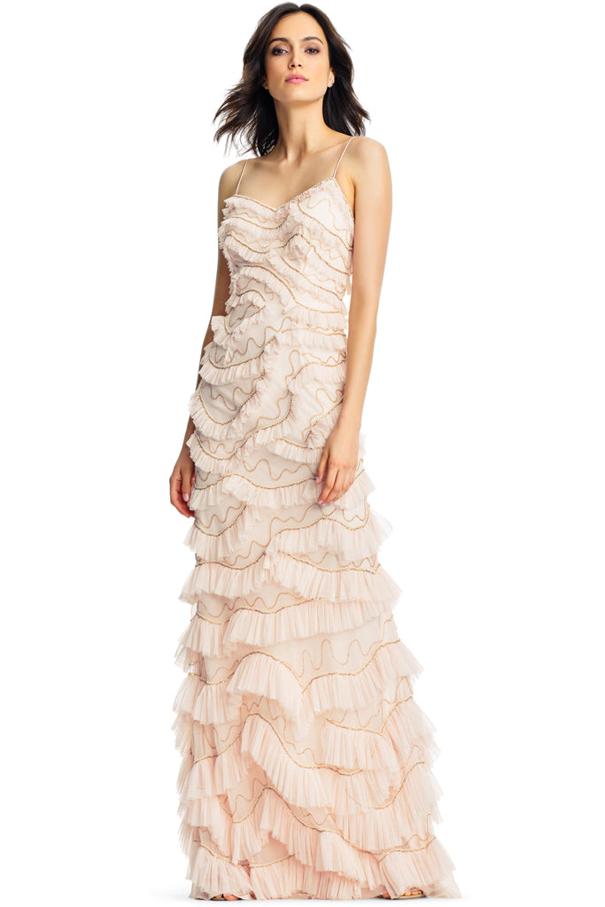 Nevaeh Ruffle Gown by Aidan Mattox - RENTAL | The Fitzroy