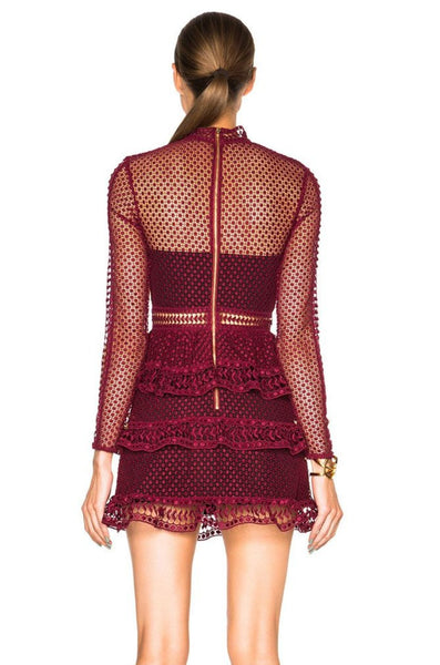 Crimson High Neck Panelled Lace Dress by Self Portrait - RENTAL