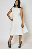 Sabrina Boat Neck Mesh Dress in White by Bariano - RENTAL