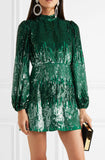 Samantha Sequin Mini Dress in Green by Rixo London - RENTAL