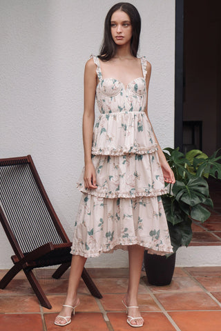 Peyton Floral Buster Midi Dress by Sau Lee - RENTAL