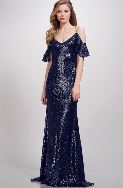 Scarlet Navy Sequin Cold Shoulder Gown by Theia Couture - RENTAL
