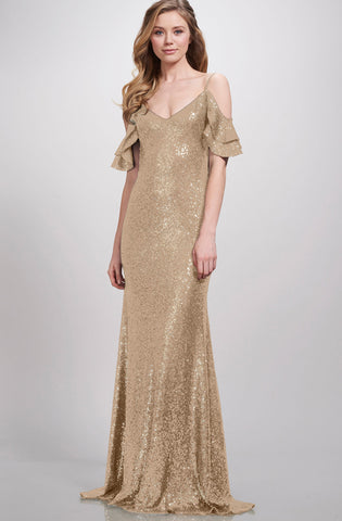 Gold sequin bridesmaids gown rental