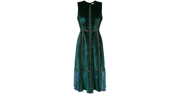 Green Velvet Pleated Contrast Dress by Self Portrait - RENTAL