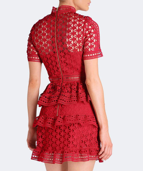 Star Lace Short Sleeve Dress in Red by Self Portrait - RENTAL