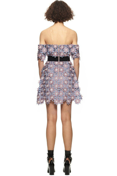 May Flowers Floral Applique Mini Dress by Self Portrait - RENTAL