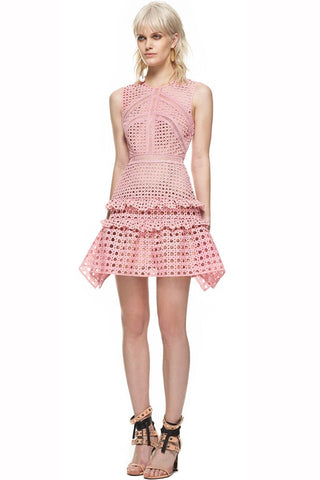 a72f7e105bb7e Crosshatch Mini Dress by Self Portrait - RENTAL