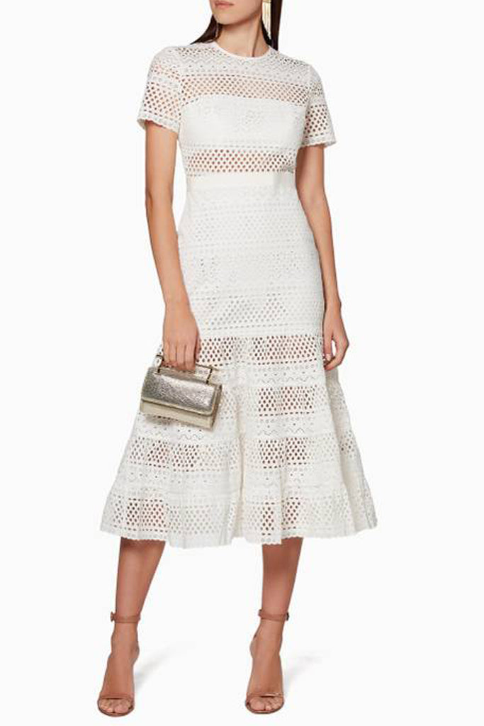 d74d880e4b280 Bea Broderie Eyelet Midi Dress in White by Self Portrait - RENTAL ...