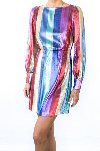 Ava Sequin Rainbow Mini Dress by Rixo London - RENTAL