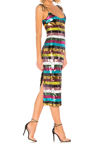 Striped rainbow sequin dress
