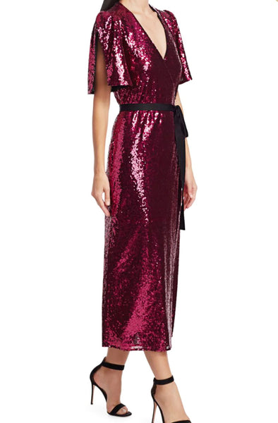 Mona Sequin Wrap Dress by ML Monique Lhuillier - RENTAL