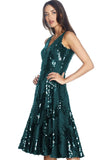 Sera Sequin and Ruffle Green Midi Dress by Dress The Population - RENTAL