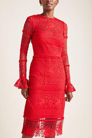 Serena Long Sleeve Lace Dress by ML Monique Lhuillier - RENTAL
