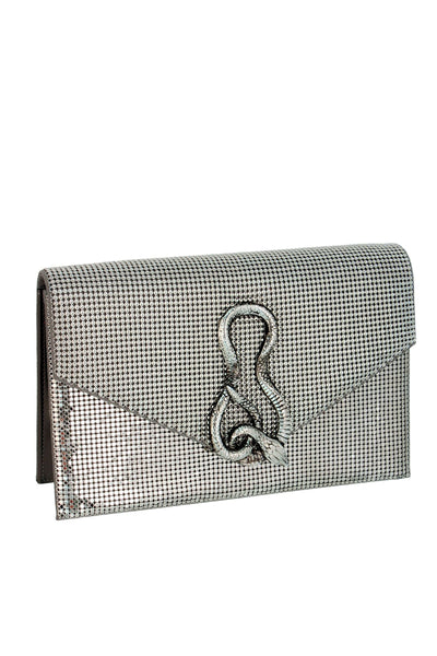Serpent Structured Clutch in Pewter by Whiting and Davis - RENTAL