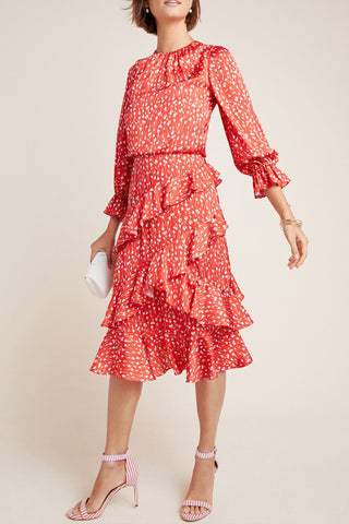 Louisa Ruffle Floral Print Midi Dress by ML Monique Lhuillier - RENTAL