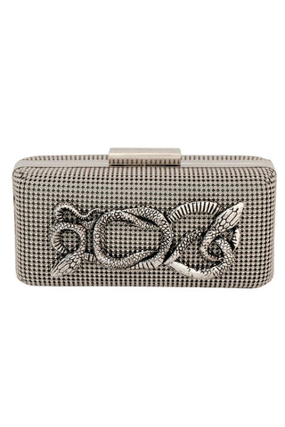 Serpents Mini Clutch in Pewter by Whiting and Davis - RENTAL