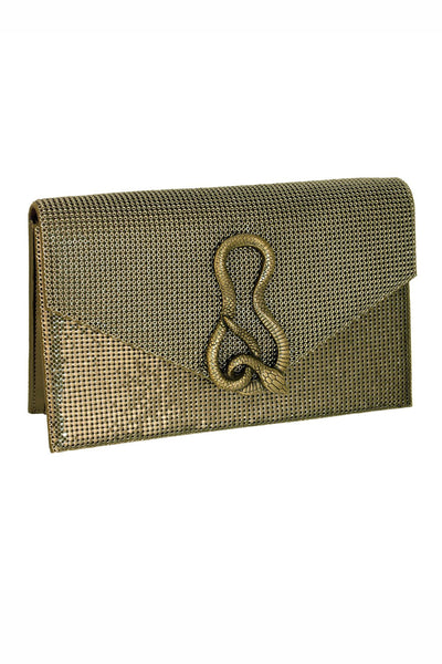 Serpent Structured Clutch in Bronze by Whiting and Davis - RENTAL