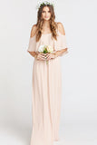 Caitlin Cold Shoulder Mumu Bridesmaids Dress in Dusty Blush Crisp