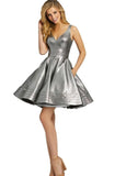 Celeste Silver Cocktail Dress by Mac Duggal - RENTAL