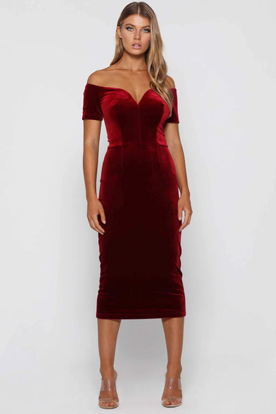 Frenchie Wine Velvet Dress by Elle Zeitoune - RENTAL